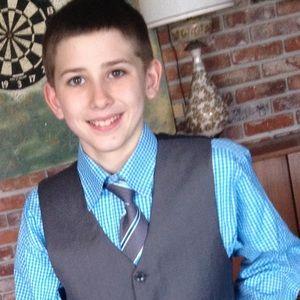 4 piece suit grey jacket & vest. Blue shirt & tie
